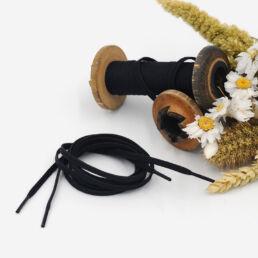 Lacets Cirés plats LUCIEN 4mm - Noir - Made by bobine