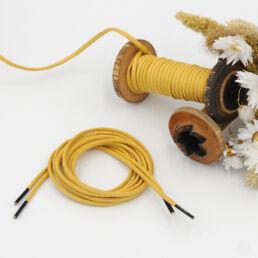 Lacets Cirés ronds SIXTINE 3mm - Jaune moutarde - Made by bobine